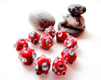 Bright Red Lampwork Beads, 14 mm Glass Beads, jewelry making, supplies, 4 pcs.