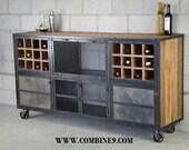Liquor Cabinet/ Bar - Vintage Industrial, Urban-Modern design. Reclaimed wood top & Steel. Custom Configurations. (sideboard, buffet, loft)