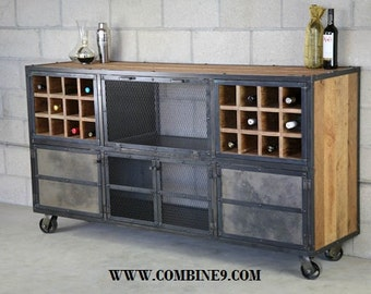 Liquor Cabinet/ Bar. Vintage/Modern Industrial. Reclaimed wood