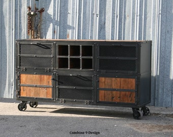 Liquor Cabinet/ Bar. Vintage/Modern Industrial. Reclaimed wood top & Steel. Urban loft design. (Media console/credenza, cart, buffet, style