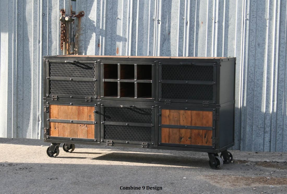 Liquor Cabinet/ Bar. Vintage/Modern Industrial. Reclaimed wood