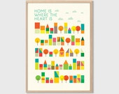 HOME   Is Where The Heart Is Poster : Modern Illustration Retro Art Wall Decor Print