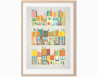 AUSTRALIA | Sydney Townhouses Poster : Australia Modern Illustration Retro Art Wall Decor Print