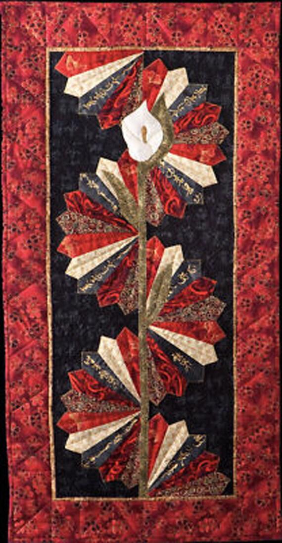 Necktie Quilt Patterns For Beginners : Serenity Asian Tablerunner Pattern Quilt Woman Fans DIY Sewing