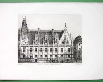 ORIGINAL ETCHING 1884 Print by Adeline - France Rouen Exterior Facade of Palace of Justice or Courthouse