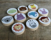 ANIMAL KINGDOM Wooden Disc Memory Match Game
