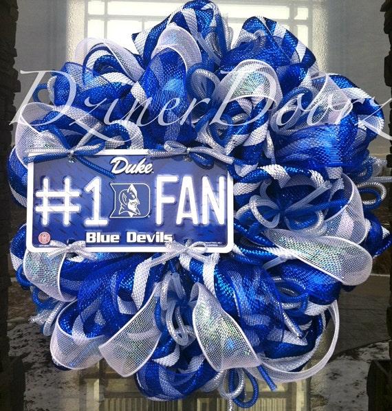 Items similar to Deco mesh Duke Blue Devils Fan Wreath on Etsy