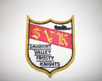 Snowmobile Club Patch 1980s Sauquoit Valley Frosty Knights NY, Upstate New York, Vintage Sew On Embroidered Patch