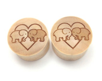 "Custom Handmade Organic ""Elephants In Love"" Wood Plugs - You choose wood type/color and size 7/16"" - 30mm"