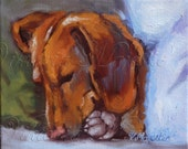 Miniature Dachshund Puppy Dog, Doxin 8x10 PRINT, from Original painting, wiener dog  fineart,  on Etsy