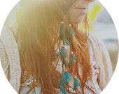 Turquoise Cascading Feather Hair Clip - Extension Boho- Gypsy - Native American- Southwest