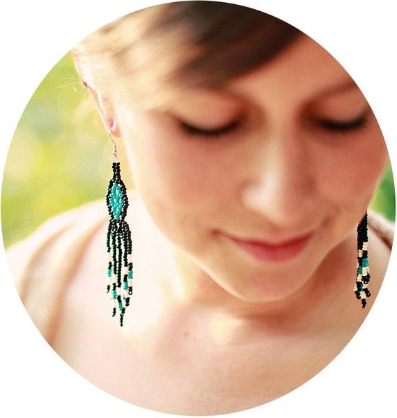 Turquoise, Black, & White Fringe Earrings - Handmade - Long