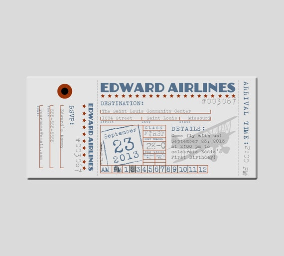 Items Similar To Airplane Birthday Invitation: Items Similar To Vintage Airplane Ticket Birthday Party