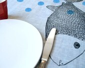 HUGE SALE -50% / Fish Table runner / blue / Screenprint on linen 45x140cm