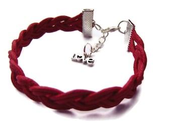 Red Bracelet, Braided Bracelet, Cord Rope Bracelet, Love Jewelry, Bracelet, Cord Bracelet, Fibre, Gift for Her