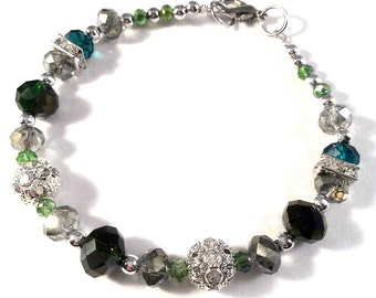 Faceted Crystal Glass Bracelet in Dark and Light Blue Green with Silver Rhinestone Accent Beads
