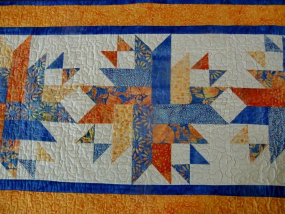 Starburst Quilted Table Runner Quilt Cobalt Blue Citrus Orange