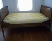 Antique Oak 3/4 Bed Frame W/Vintage Mattress & Box Spring