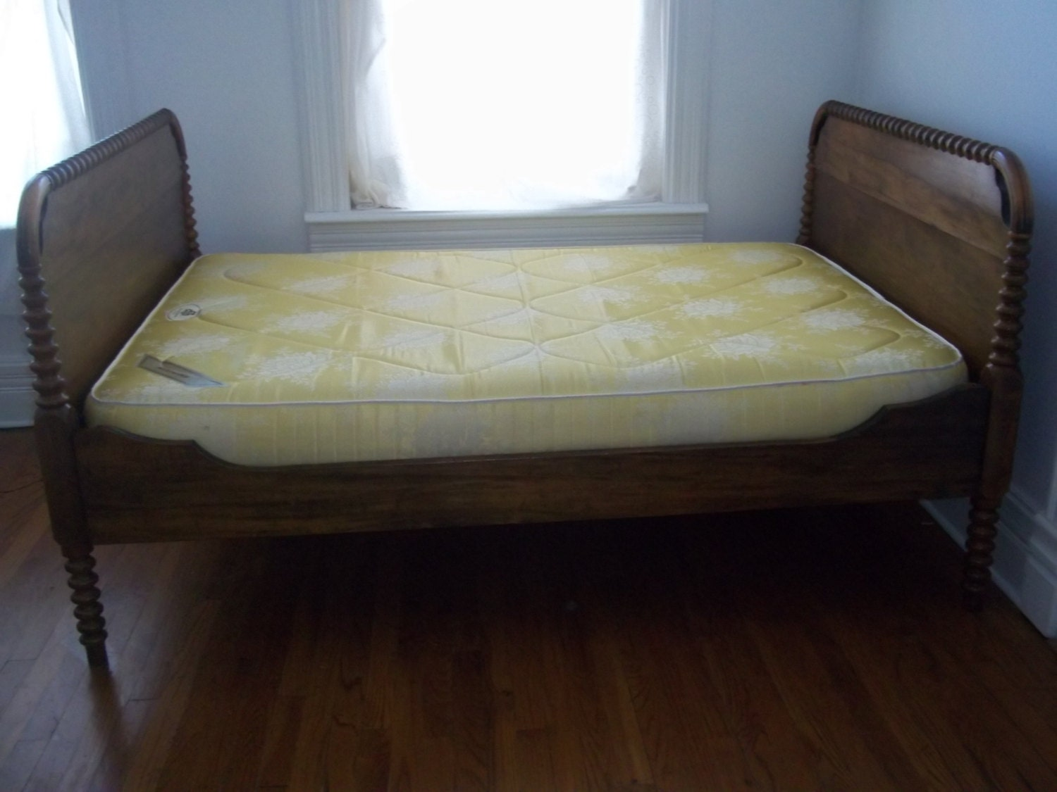 Antique Iron Bed Frame With Springs : Antique oak bed frame w vintage mattress box spring