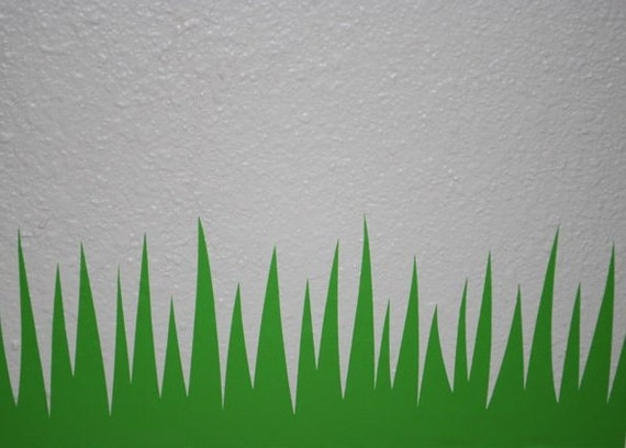6 in tall blades your length grass decal short grass for Tall grass border