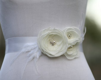 Bridal Sash-Chiffon Flower Sash-Light Ivory-Feathers-Crystals-Rhinestones-Swarovski Pearls-Wedding Accessories-White Ribbon-Bridal Belt