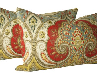 Decorative Designer Kravet Latika Paisley, Ikat, Red, Yellow, Lumbar Size,  Throw Pillow