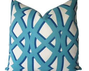 Decorative Designer Geometric, Indoor Outdoor, Lattice, 18x18, 20x20, 22x22  or Lumbar Trellis Throw Pillow