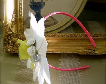 "Childrens Vintage Style Felt Fascinator Headband White and Cream with Chartreuse accents- ""Miss Isobel"""