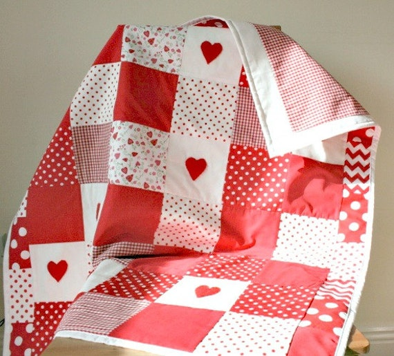Baby girl patchwork quilt, baby girl blanket with red polka dot, gingham, love hearts, red chevron, cot bedding