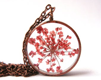 Pretty Red Queen Anne's Lace  Pendant - Real pressed flower encased in resin with open back copper pipe bezel, Pressed Flower Jewelry