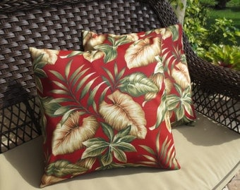 OUTDOOR Pillow Cover in a Cranberry Red Tropical Floral Print / Red Pillow Cover