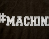 Machine done in vintage looking silk screen on a workout black tank top with a back corners cut back