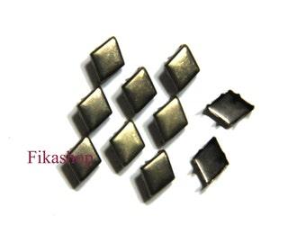 30% Off Clearance SALE: 10/7mm 50pcs Brass flat diamond studs (6 legs) / HIGH Quality - Fikashop