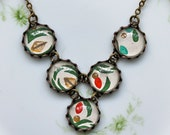 Bib Necklace made with Vintage Wallpaper  - Red, green, and gold