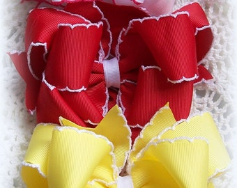 Moonstitch Hair Bow....Red Hair Bow...White and Pink Hair Bow...Boutique Hair Bow