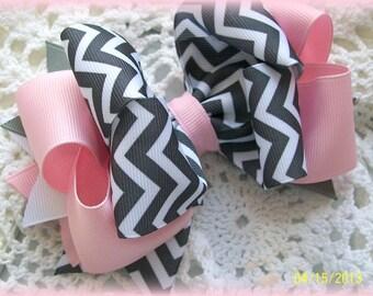 Grey Chevron and Pink Hair Bow....Chevron Hair Bow....Pink and Grey Hair Bow....Girls Hair Bow..Toddler Hair Bow..