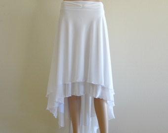 White Maxi Skirt. White Long Bridesmaid Skirt. High Low Evening Skirt. Chiffon Party Skirt.