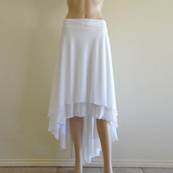 White Maxi Skirt. White Long Bridesmaid Skirt. High Low