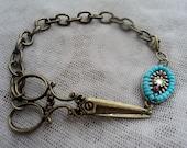 Native Beaded and Bronze Hair Stylist Scissor Charm Bracelet