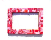 "ON SALE 15% off wedding gift pink red lilla original photo frame mosaic spectrum glass 5,31"" x 7,28"" inches - mother's day - LaTenagliaImpazzita"