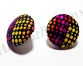 Small African Dot Print Button Earring