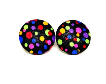 Small Colorful Bright Polka Dot Button Earrings