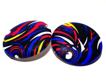 Extra Oversized Midnight Swirls Print Button Earrings