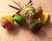 6 Sugarfections LETS PARTY CUPCAKE Party Favors Mini Faux Cupcake by Juste Jolie