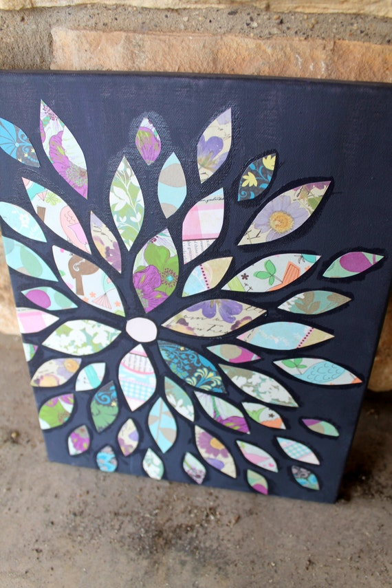 Wall decor made from scrapbooking paper : Scrapbook paper flower petals collage on by