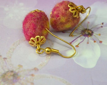 A Set of Needle Felted Earrings - Fusion