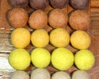 20pcs Chocolate II Collection Wool Felt Balls (2cm)