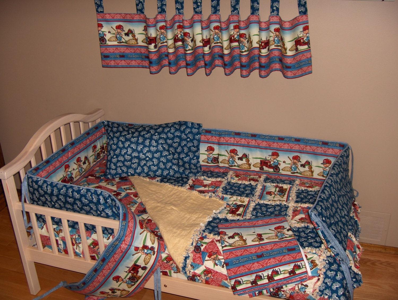 International Harvester Farmall Crib Bedding Set Rag Quilt