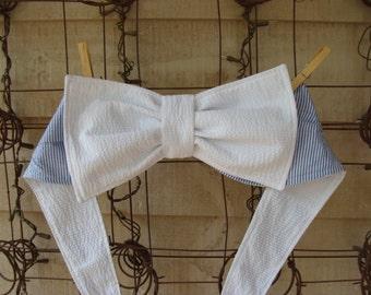 Blue Seersucker with White Seersucker Bow Bikini Sunbathing....Bandeau/Halter/Crop Top...Custom Order...