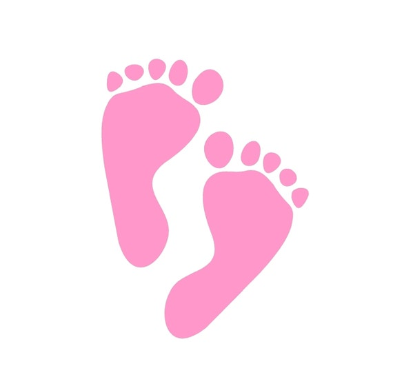 Pink Baby Feet Clipart Baby feet prints velvety iron